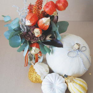 Warm Fall Wedding Florals and Pumpkin Decor