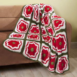 Christmas Flower Motif Throw