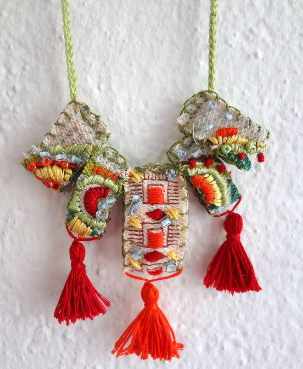 Embroidered macedonian inspired diy necklace