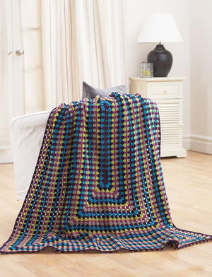 Easy Jeweled Continuous Granny Square Afghan Pattern