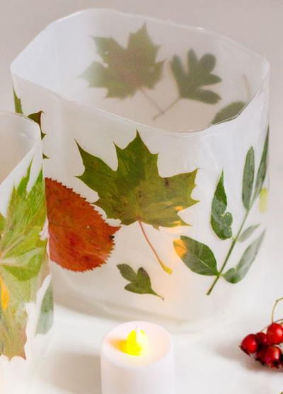 DIY Leaf Luminaries