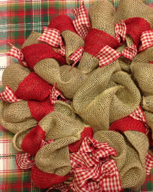 Burlap and Gingham Wreath