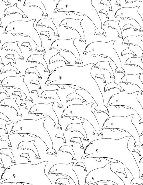 Calming Dolphin Adult Coloring Page