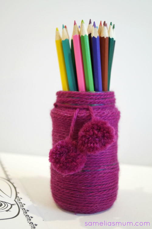 Yarn Covered Pencil Pot