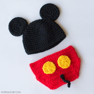 Mickey Mouse Inspired Hat & Diaper Cover