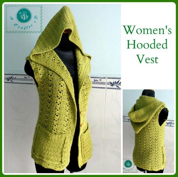 Hooded Crochet Vest AllFreeCrochet.com