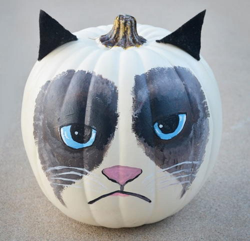 Grumpy Cat Painted Pumpkin