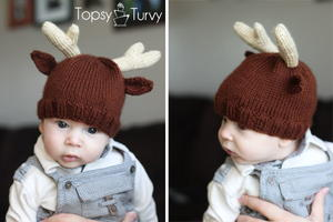 Baby Knit Reindeer Hat