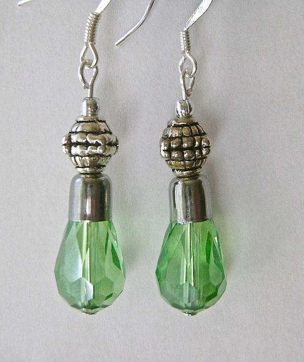 4 Step Peridot Teardrop Earrings
