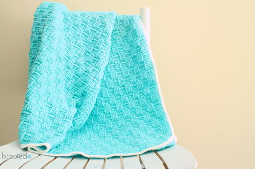 Blue Basket Weave Crochet Baby Blanket