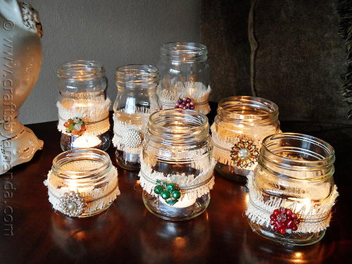Jeweled Burlap Luminaries
