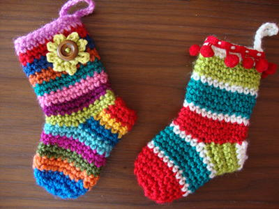 Colorful Christmas Crochet Stockings
