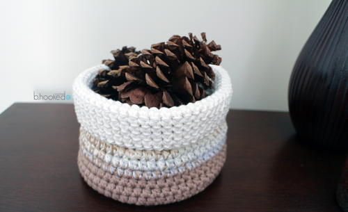 Neutral Stripes Crochet Basket