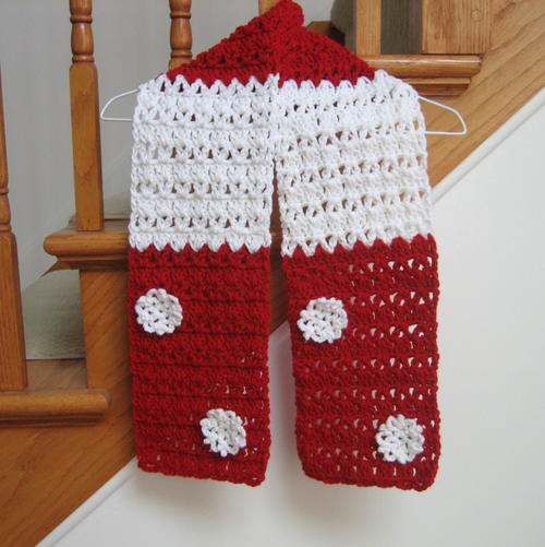 Candy Cane Christmas Scarf Pattern