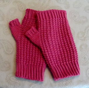 Crazy for Cranberry Knit Mitts