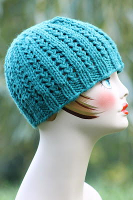 Blue Braided Knit Beanie