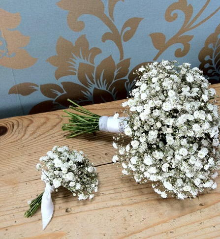 Gypsophila Bouquet and Buttonhole