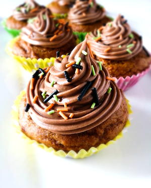Pumpkin Lava Cupcakes with Nutella Frosting