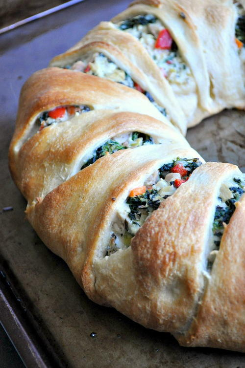 Lightened-Up Spinach Artichoke  Crescent Ring