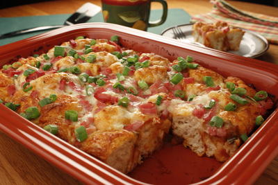 Zesty Ham and Cheese Bread Squares