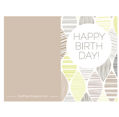 Casual Taupe Printable Birthday Card