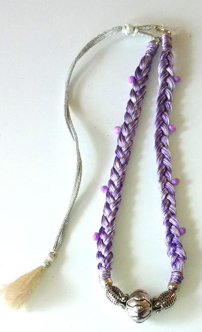 Purple Braided Thread Necklace