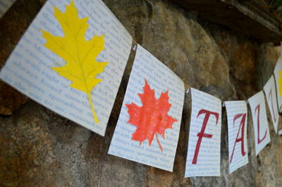 Fall Book Page Leaf Banner