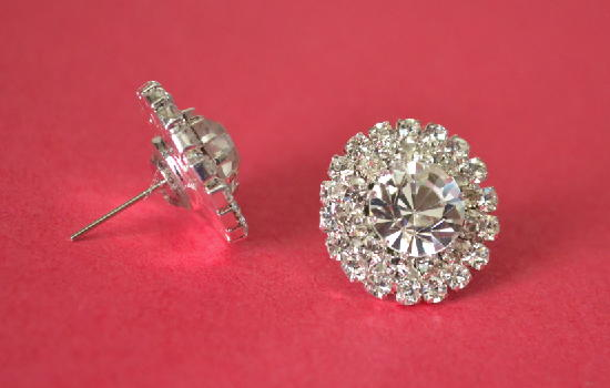 Radiant Rhinestone Button Earrings