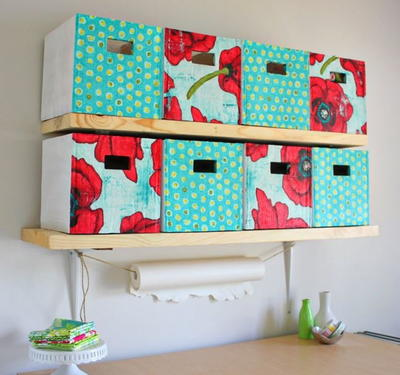 Refashioned Cardboard Storage Bins