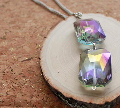 Faceted Glass Drop Necklace