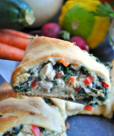 Lightened-Up Spinach Artichoke and Chicken Crescent Ring