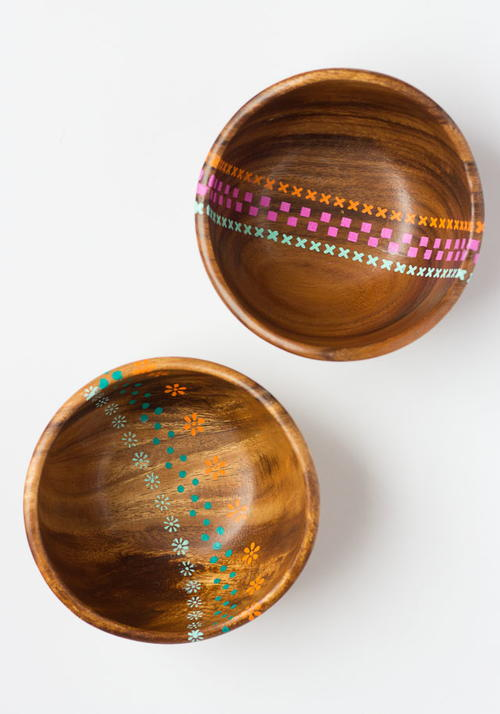 Thrifty Painted Wood Bowls