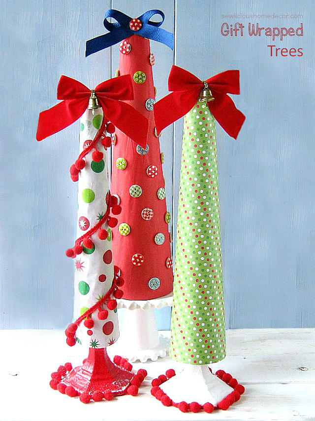 Gift wrapped diy tabletop christmas trees favecrafts