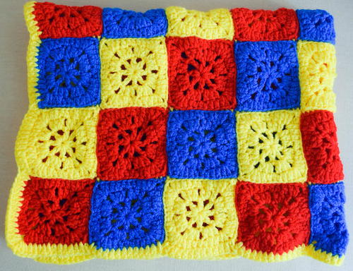 Primary Color Checkerboard Afghan