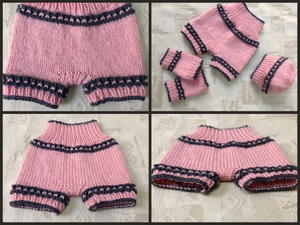 Pinky Knit Shorts, Hat, Legwarmers