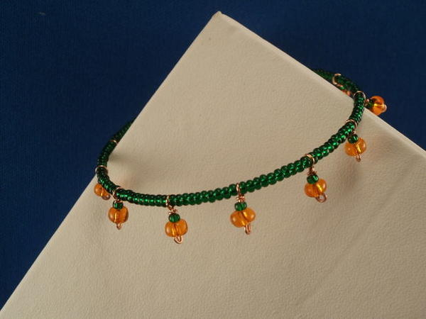 Pumpkin Patch Memory Wire Bracelet