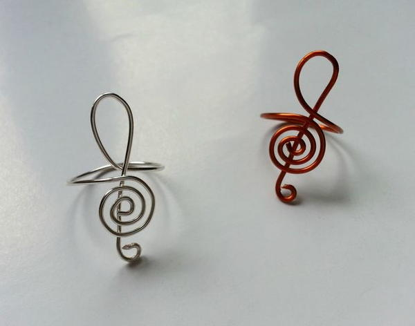 Treble Clef Wire-Wrapped Ring