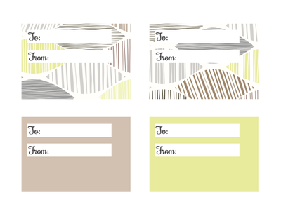 Taupe and Pistachio Rectangular Printable Gift Tags
