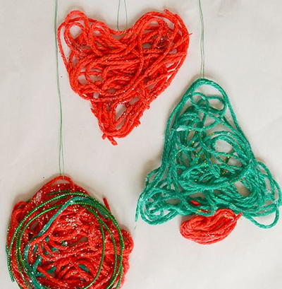 Glittery Yarn Christmas Ornaments