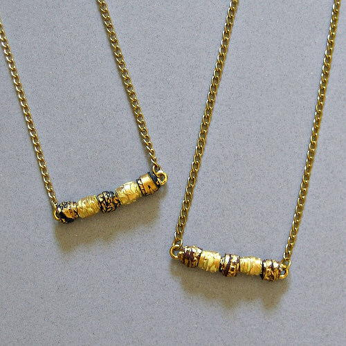 Glam Gold Paper Bead Bar Necklace