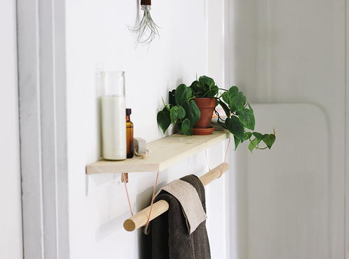 Modern Wood Towel Rack and Shelf