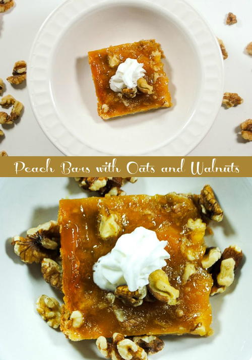 Lower Sugar Peach Bars with Oats and Walnuts
