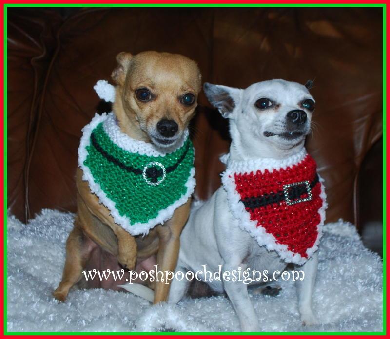 Christmas Santa Dog Bandana | AllFreeKnitting.com