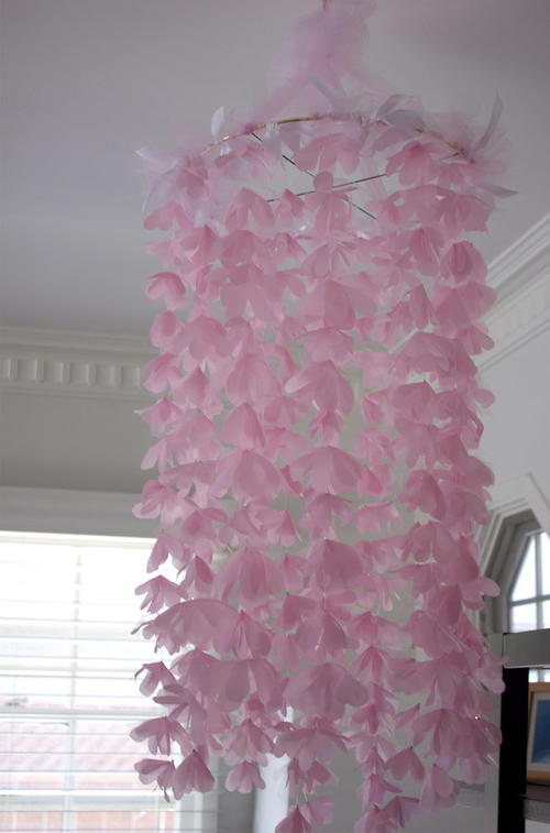 Chiffon and Tulle Flower Chandelier