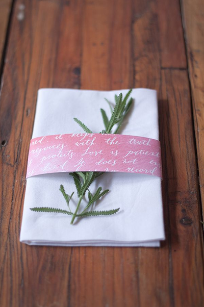 Classic Calligraphy Napkin Bands