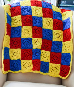 Checkerboard in Primary Colors Blanket