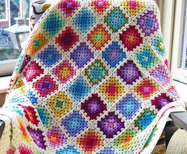 Rainbow Granny Square Blanket Allfreecrochet Com