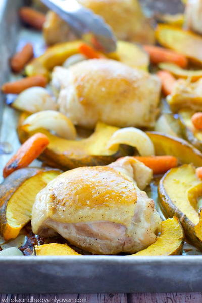 Dijon Roasted Chicken with Acorn Squash