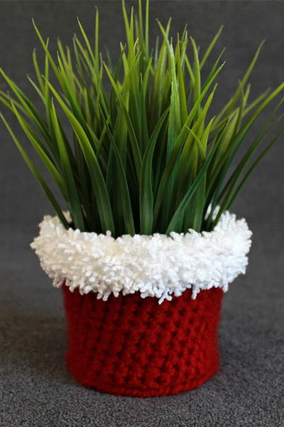 Christmas Crochet Planter Cover