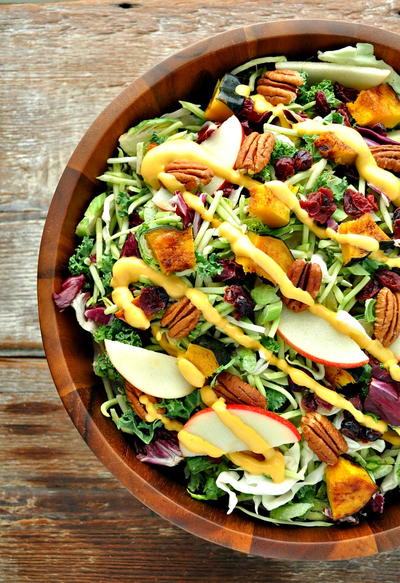 Fall Harvest Salad with Pumpkin Goddess Dressing